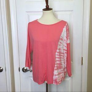 J. Jill Pink Tie Dye Pima Cotton Relaxed Fit Top.